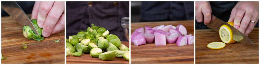 Trim and halve the sprouts. Trim, peel and quarter the  shallots. Slice the lemon thinly.