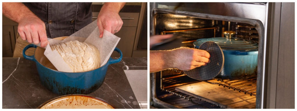 Bake the bread in the hot cast iron pot in the oven