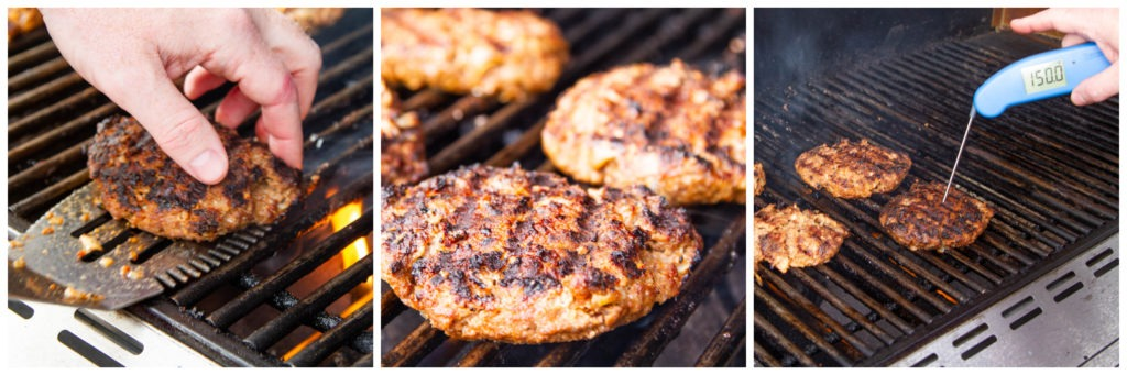 Flip the patties and cook to 150°F in the thickest part of the patty.