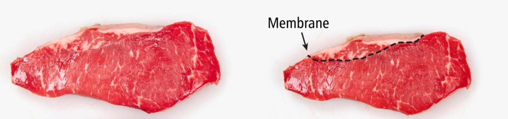 Look for an 'eye' shaped membrane in your strip steak...avoid it if possible.