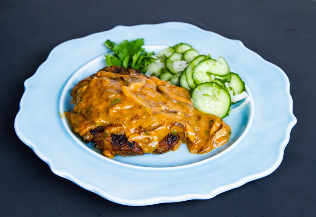 Salisbury steak recipe with shiitake mushroom gravy.