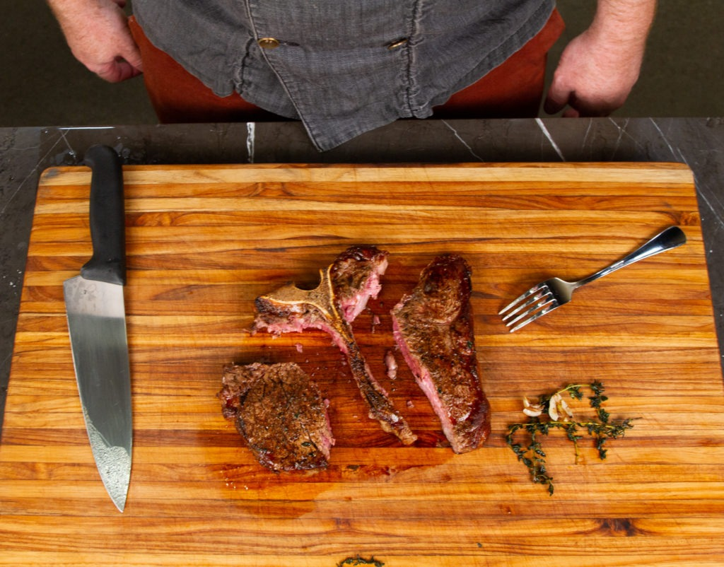 After carving the steaks out, slice them