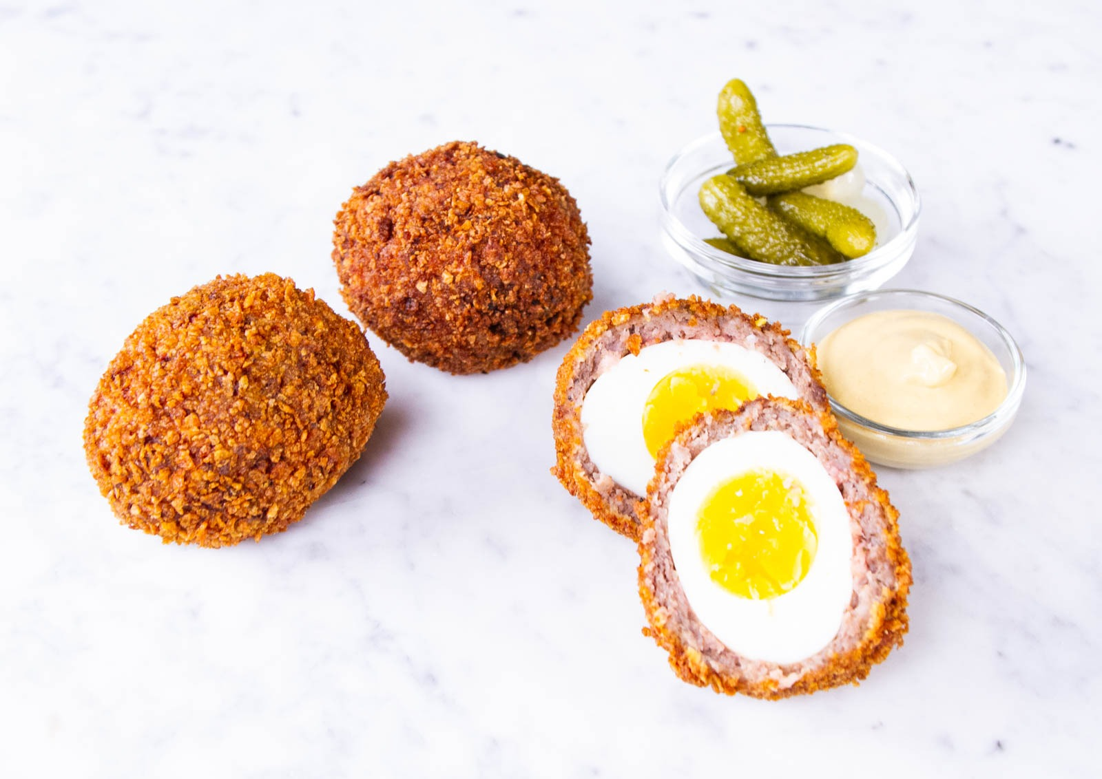 Hot Scotch Eggs cooked perfectly