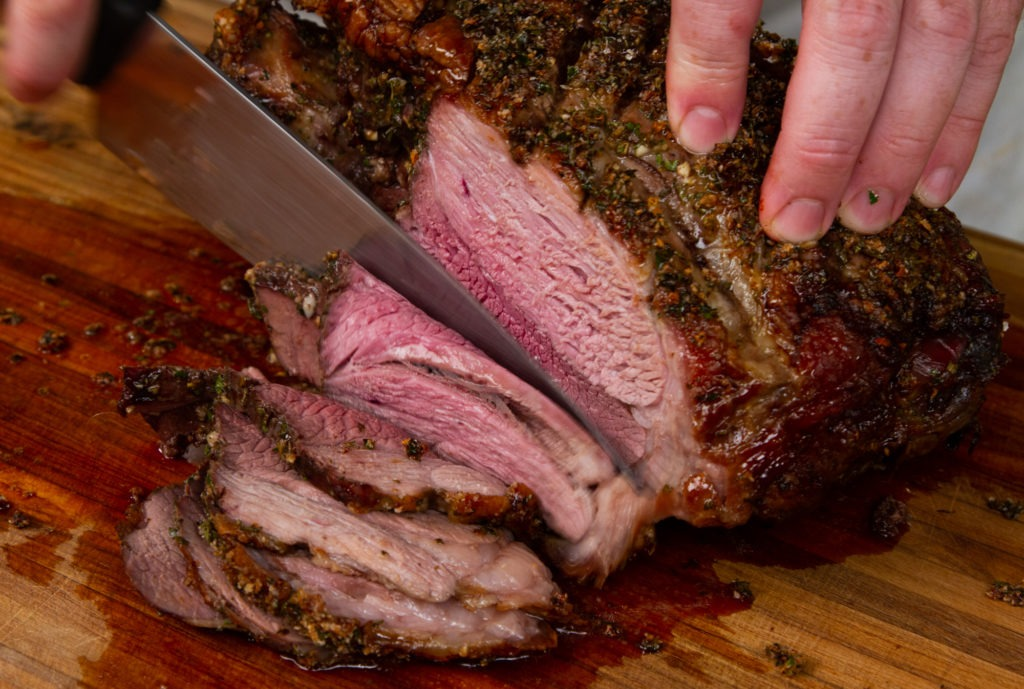 Roast leg of lamb recipe with mint sauce recipe