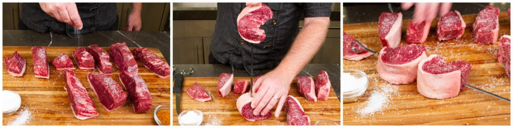 Salt the steaks, then skewer them after bending them in half, fat-side out.