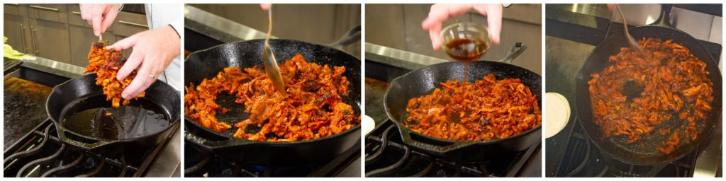 Cook the al pastor meat in a skillet until browned and add the reserved pork juice