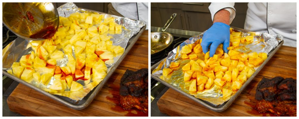 Toss the pineapple with some of the fat and roast it