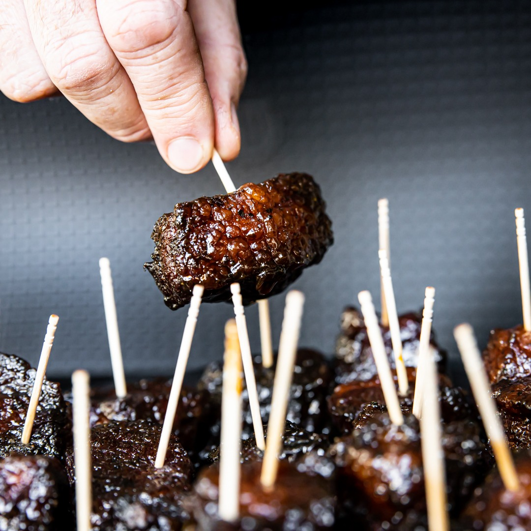 Brisket burnt ends on toothpicks