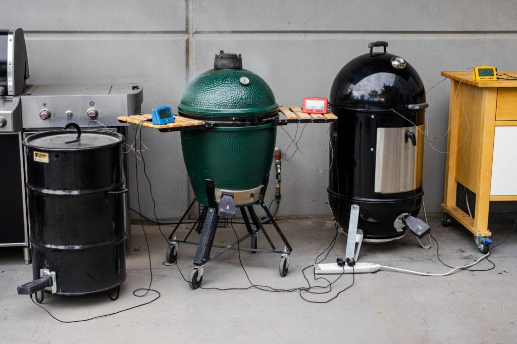Three different smokers, each using Billows to cook meats.