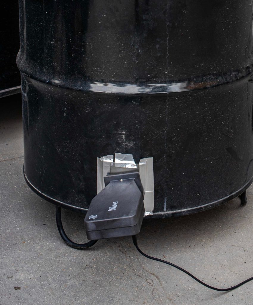The air intake with the adapter for Billows, made air-tight with flue-tape.