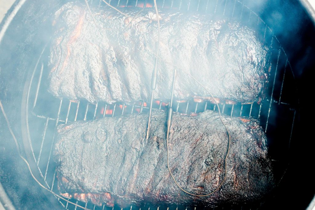 Ribs smoked in a barrel using the Billows temperature control fan.