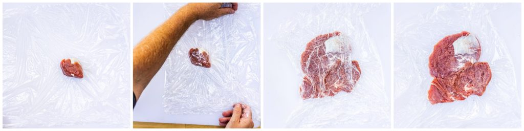 Flatten the loin pieces between two sheets of plastic wrap.