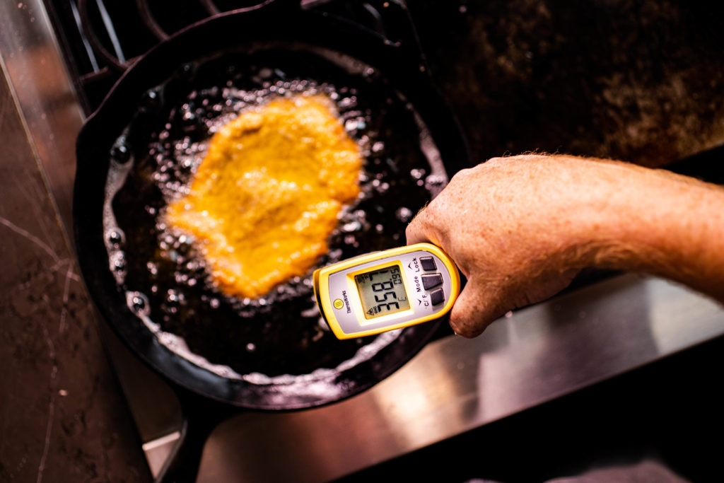 You can temp your oil for a fried pork tenderloin sandwich using an IR gun thermometer