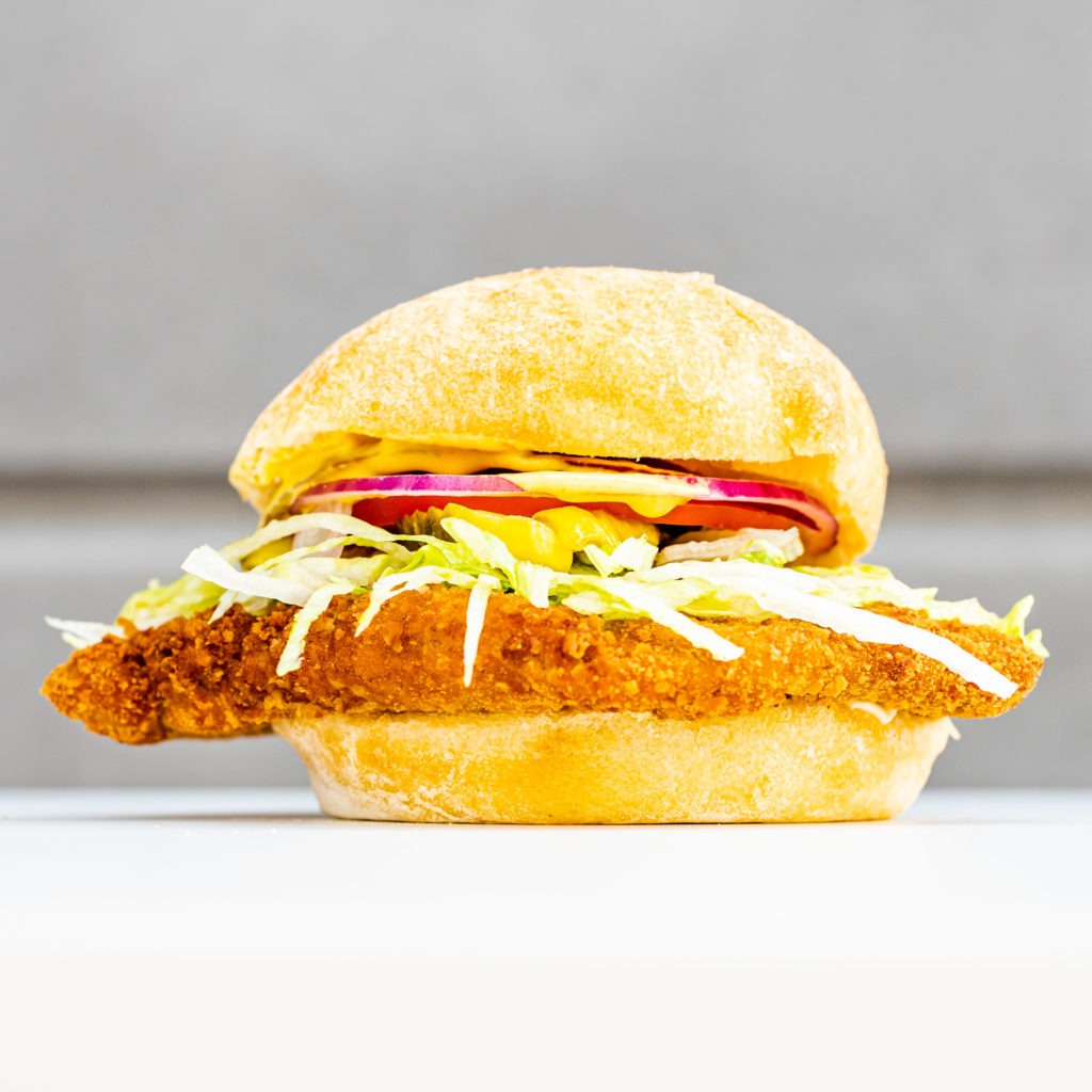 A perfect fried pork tenderloin sandwich.