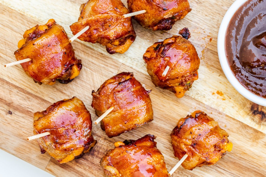 Smoked, bacon-wrapped meatballs