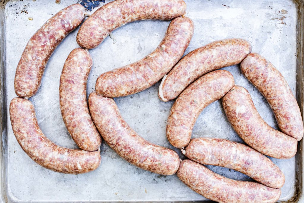 Sausages ready to be smoked