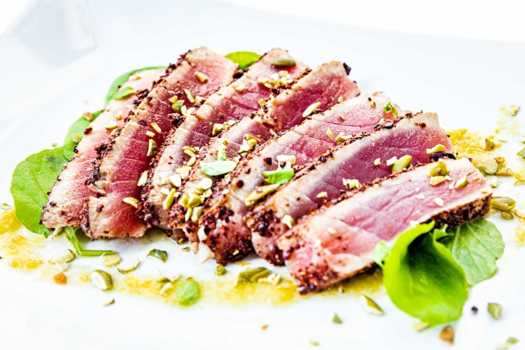 Rare seared tuna steak