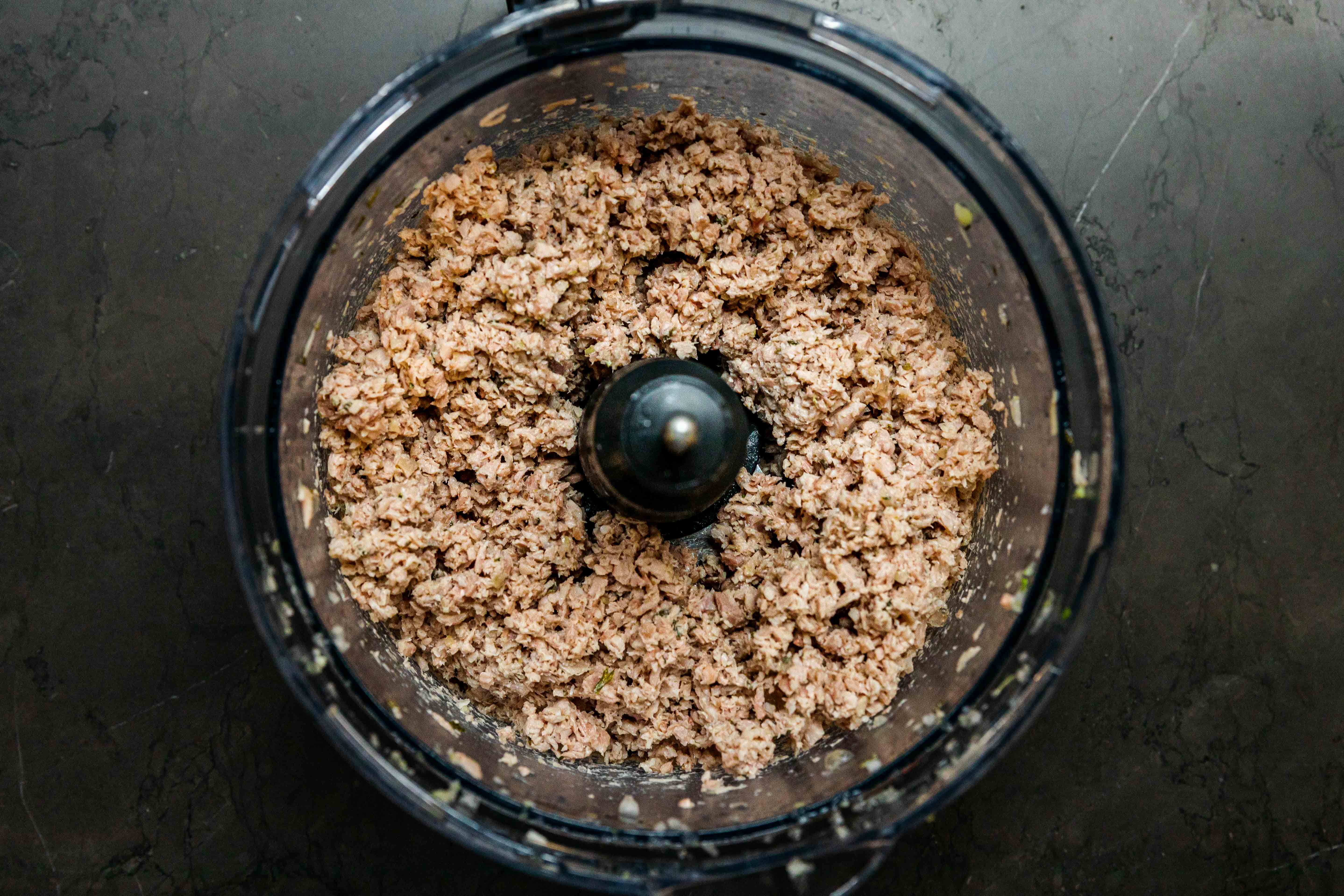 Finely chopped turkey in a food processor