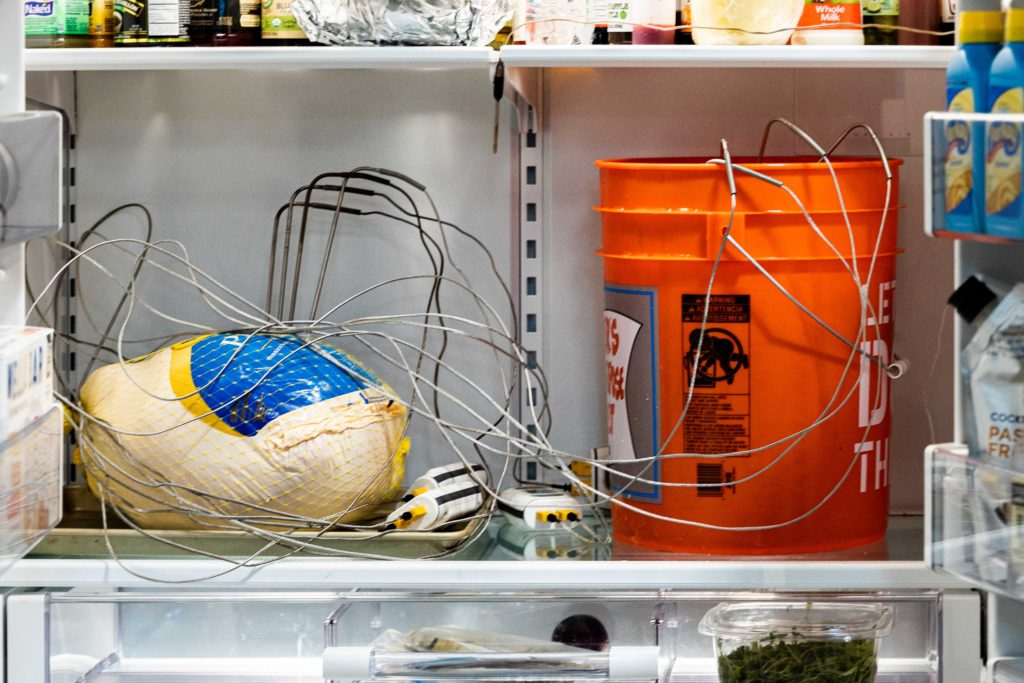 Two methods of thawing a turkey in a fridge