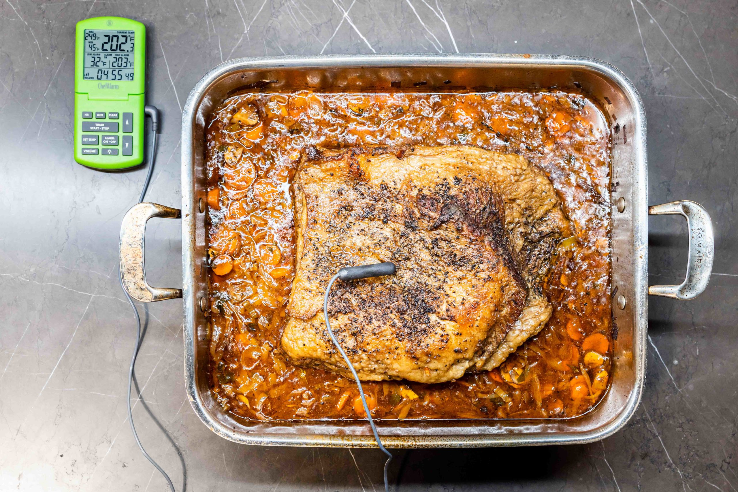 Braised brisket with a ChefAlarm