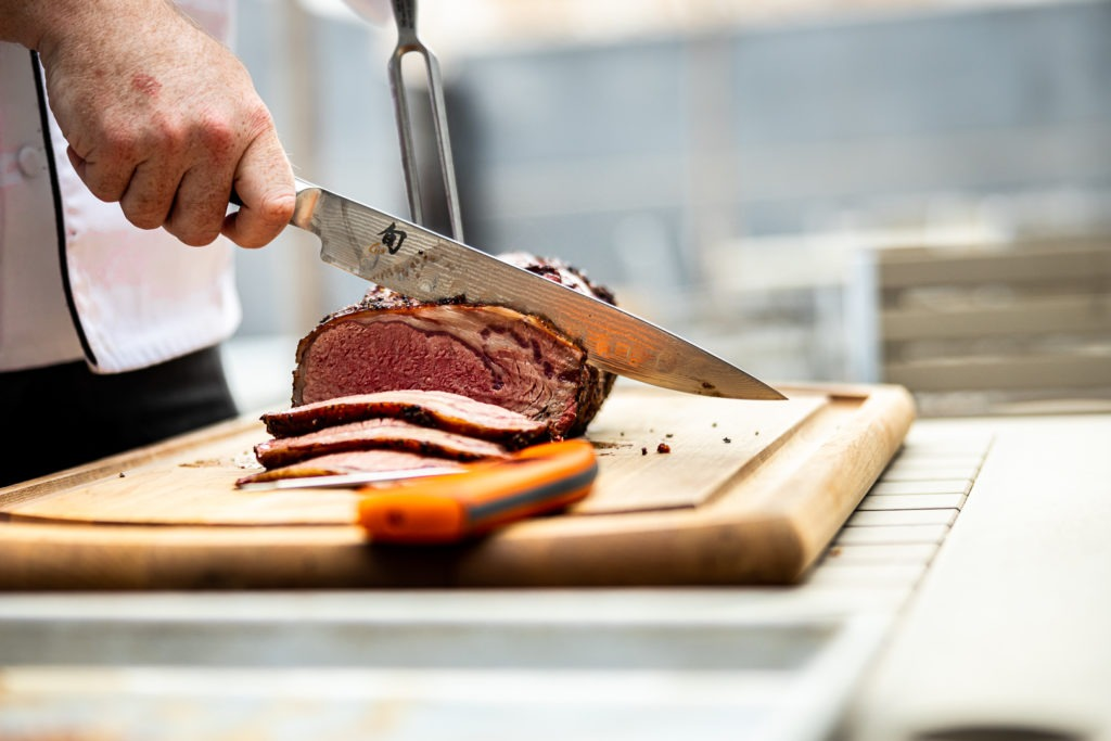 Slicing smoked prime rib