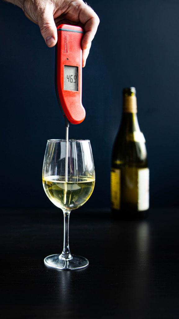 White wine at perfect serving temperature
