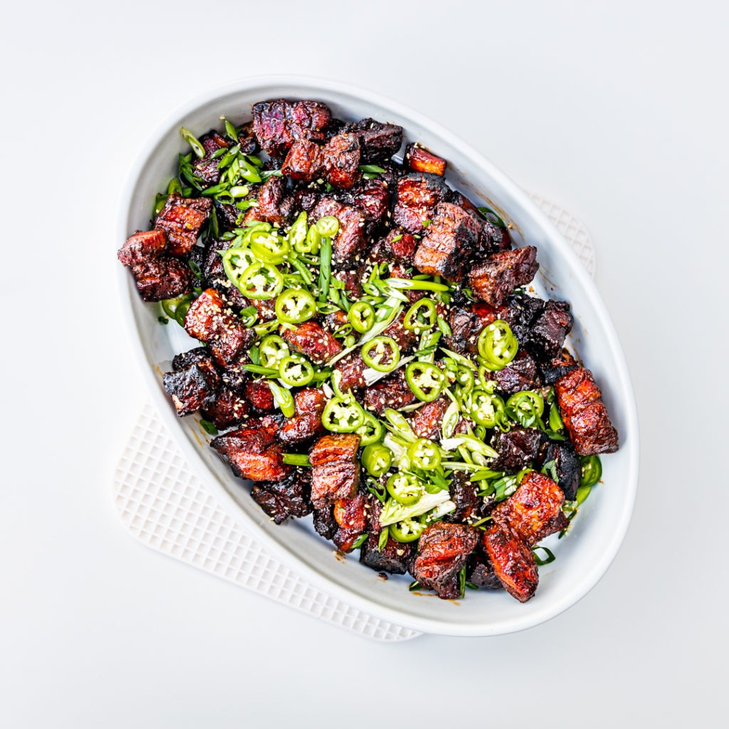 Asian sticky pork belly burnt ends