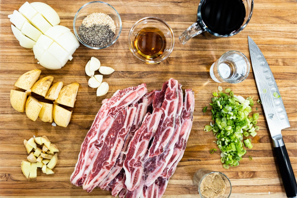 Ingredients for kalbi, galbi, Korean BBQ short ribs
