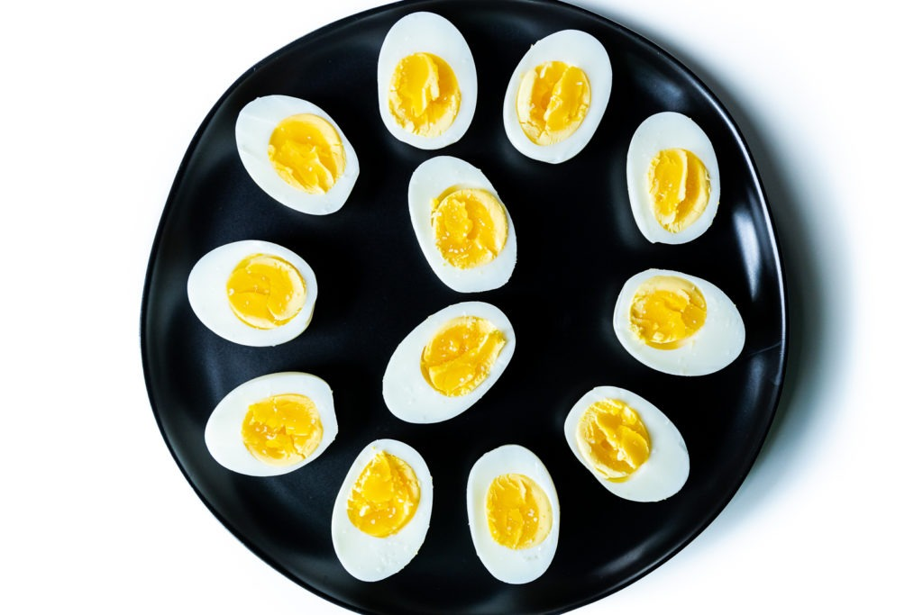A plate of perfectly boiled eggs