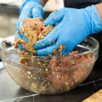 mixing meatloaf ingredients