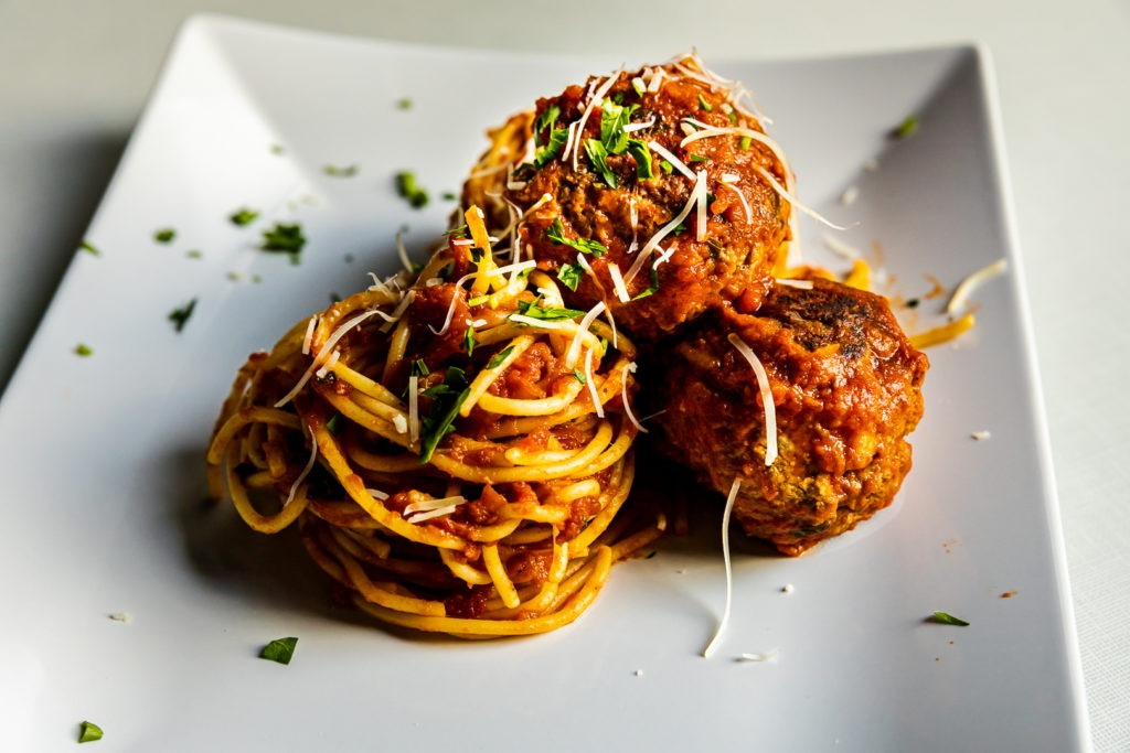 A beautiful plate of spaghetti and meatballs