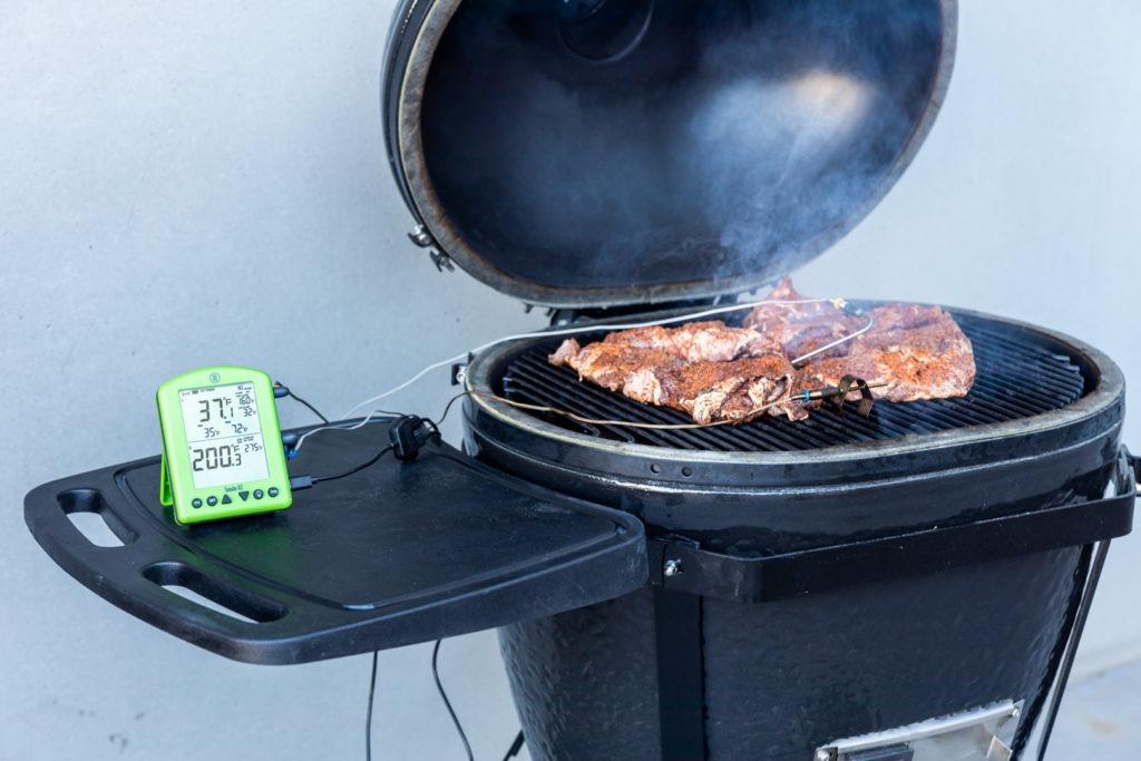 Smoking beef cheek for barbacoa tacos