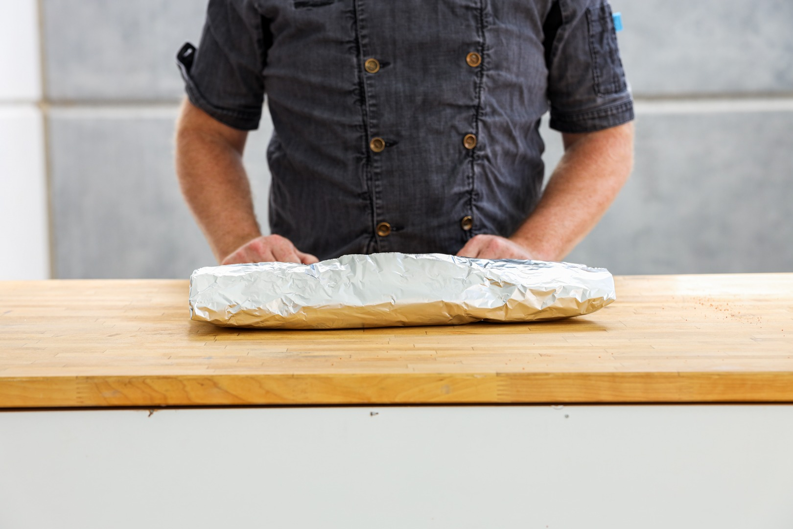 Wrapped butterflied pork butt