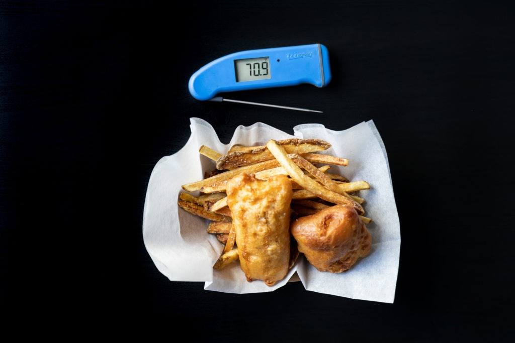 Fresh fish and chips with a Thermapen on the side