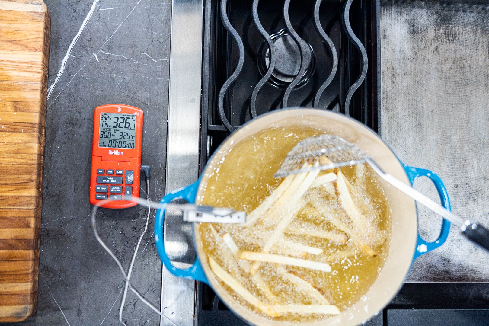 Temping the oil at 325°F