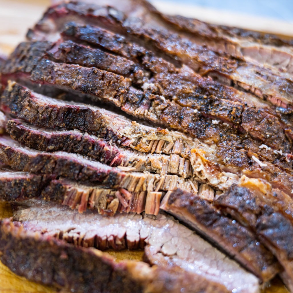 Sliced, reheated brisket