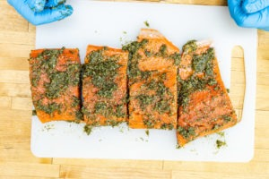 Salmon rubbed with the seasoning paste