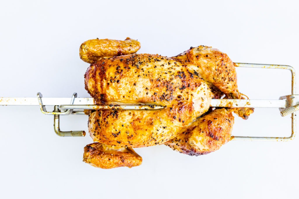 Rotisserie chicken, savory with crispy skin