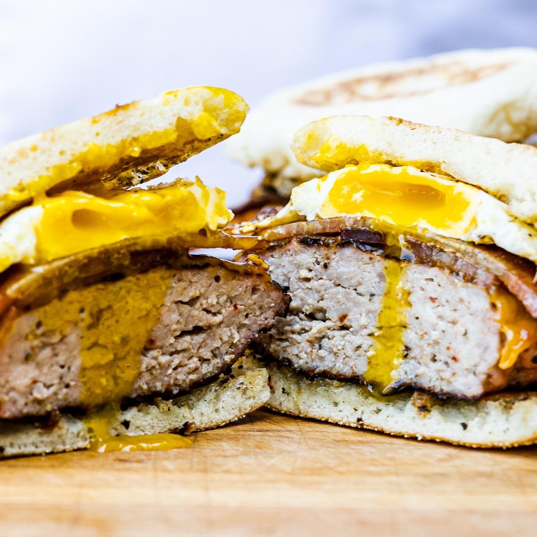 Runhy egg, savory sausage—a perfect breakfast sandiwch