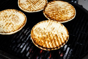 Grilling flatbreads for shawarma