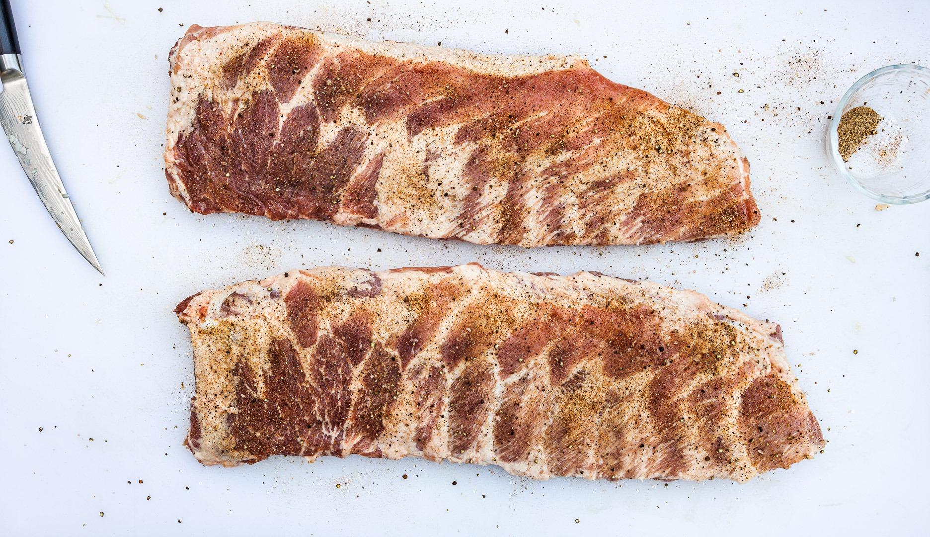 seasoned, trimmed ribs