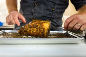 Probing the roast with a leave-in probe thermometer