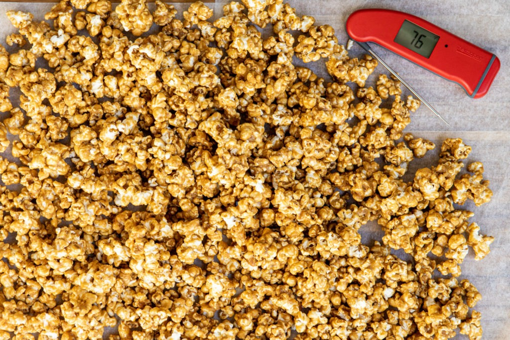 Caramel corn with a Thermapen