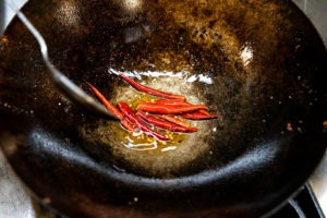 Toasting chilies