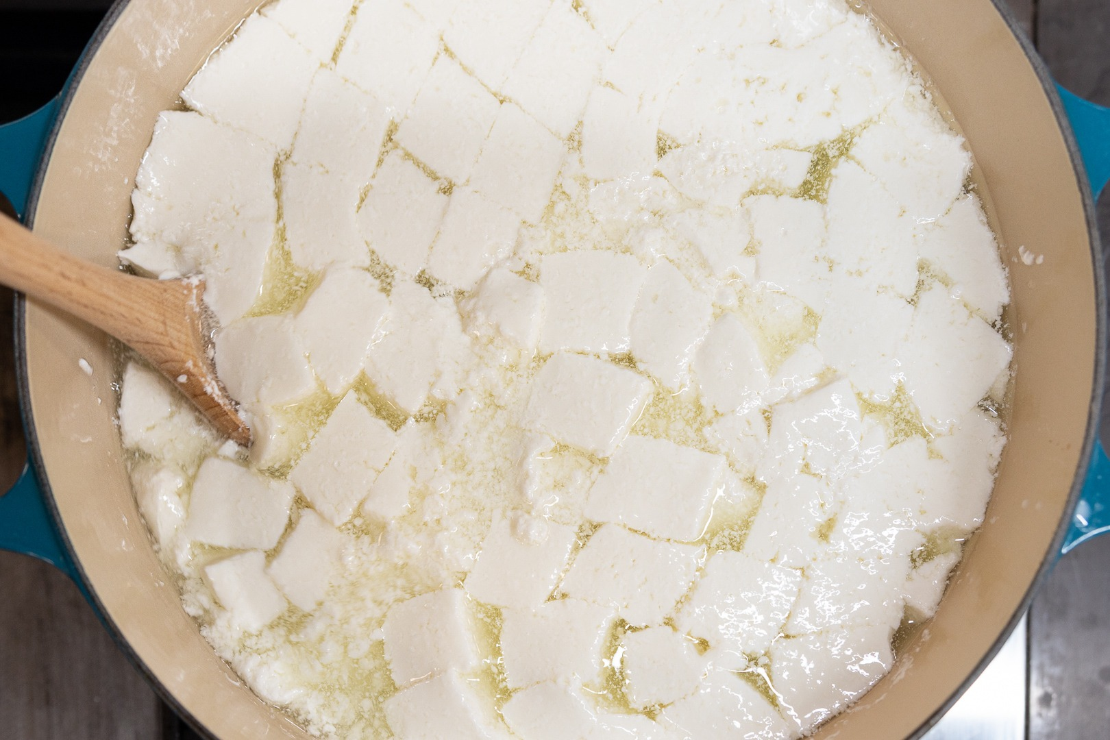 stirred curds in whey