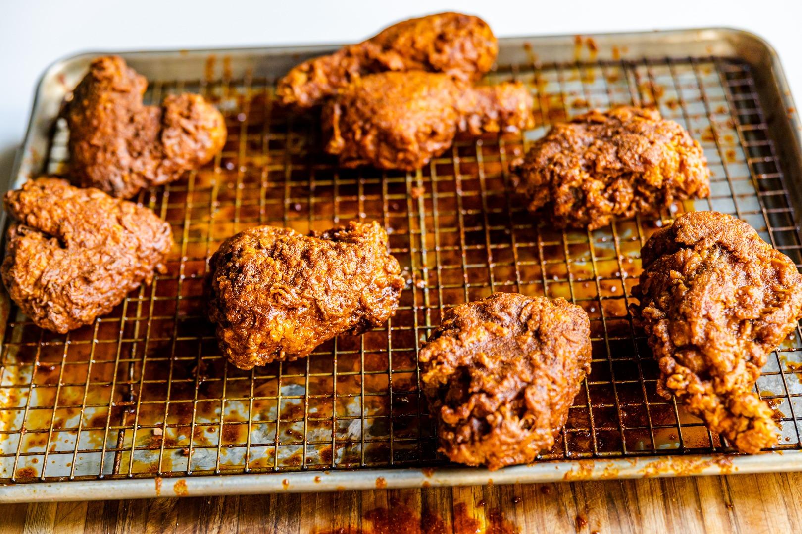 Nashville hot chicken in a pan