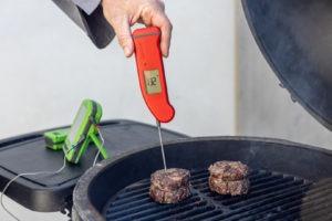 Temping the ribeye cap steak