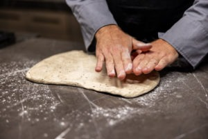 flattening the dough