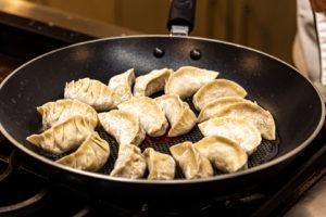 Dumplings in a pan