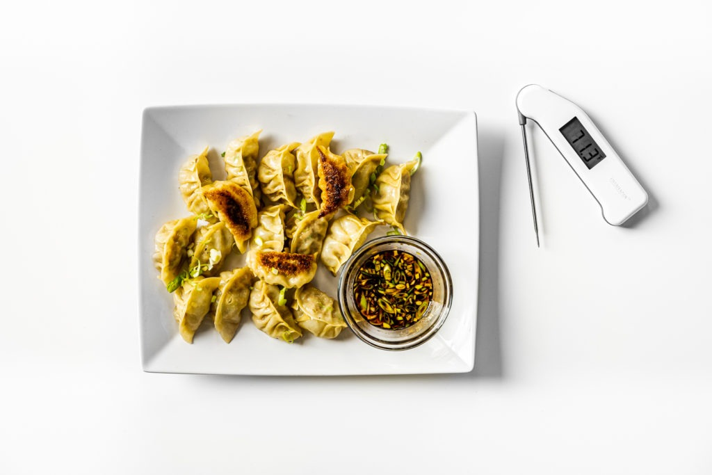 Potstickers and dipping sauce with a Thermapen